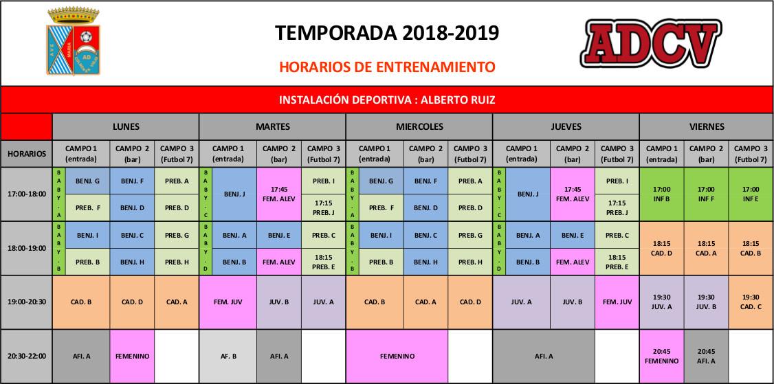 Horarios de entrenamientos Alberto Ruiz
