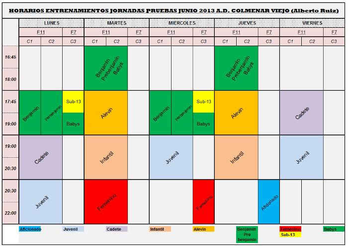 Horarios Entrenamientos-Pruebas 2013