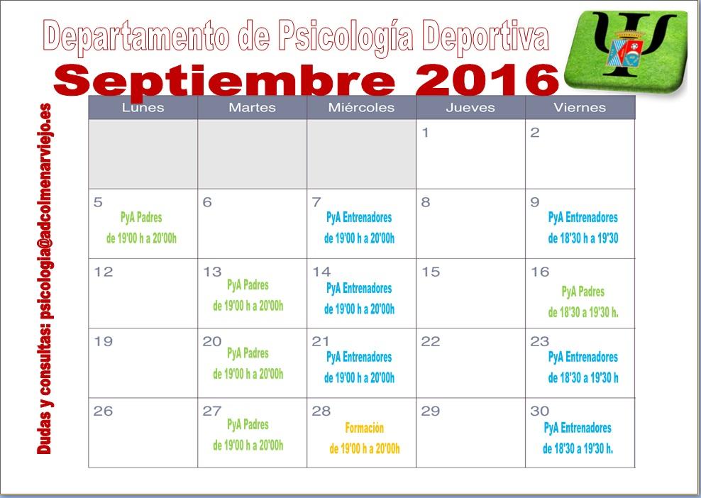 Calendario de actividades Septiembre 2016 del departamento de psicologia deportiva de la ADCV