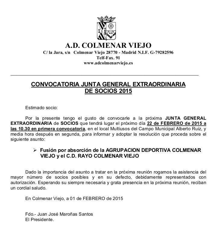 Junta General extraordinaria A.D. Colmenar Viejo 2015